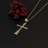 Real Gold Lined Cross Necklace - 18K Gold Jewelry