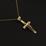 Real Gold 2C 3D Cross Necklace