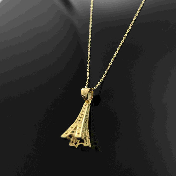 Real Gold Chain With Gold Eiffel Tower Pendant
