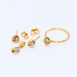 Real Gold 3C 3 Ring Earring Set + Pendant + Ring 6376