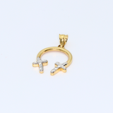 Real Gold 2C Cross Pendant 8221