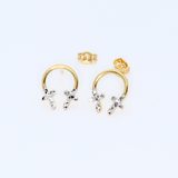 Real Gold 2C Cross Earring Set 8221 - 18K Gold Jewelry
