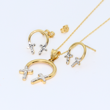 Real Gold 2C Cross Earring Set + Pendant + Chain 8221