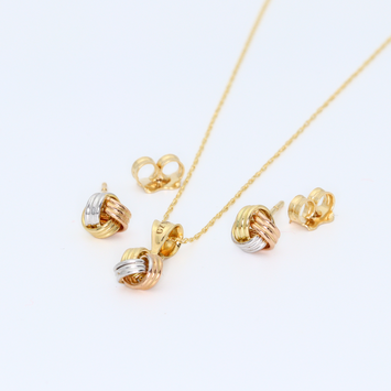 Real Gold 3C 3 Ring Earring Set + Pendant + Chain 6376