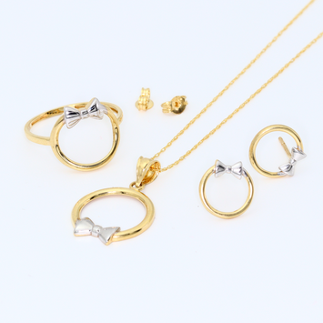 Real Gold 2C Bow Earring Set + Chain + Pendant + Ring 8198