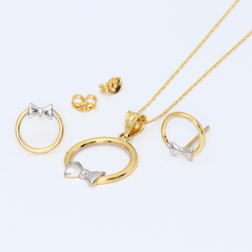 Real Gold 2C Bow Earring Set + Pendant + Chain 8198