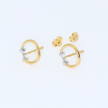 Real Gold 2C Bow Earring Set 8198 - 18K Gold Jewelry
