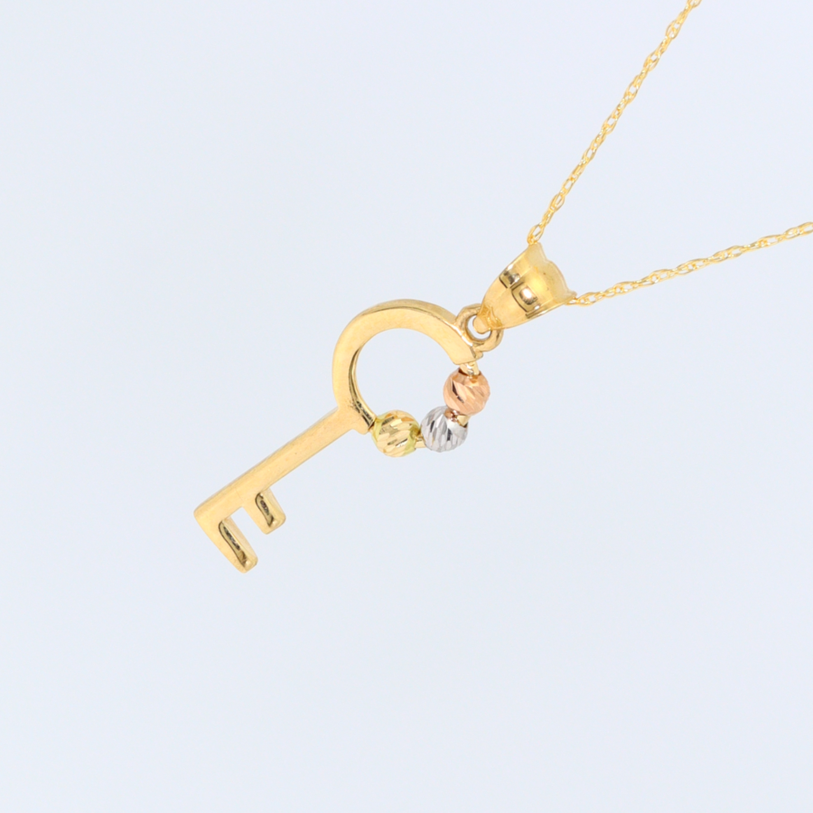 Real Gold 3 Ball Key Necklace 1105