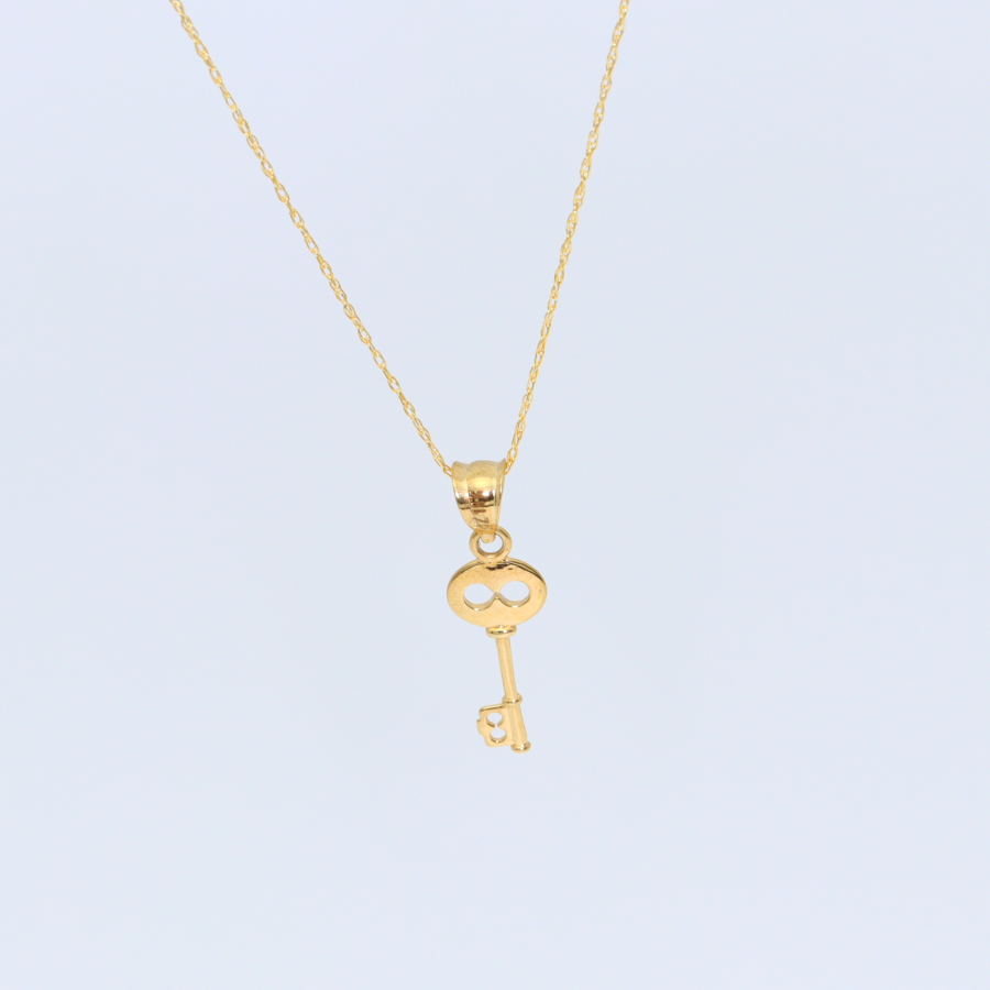 Real Gold Key Necklace 2305 - 18K Gold Jewelry