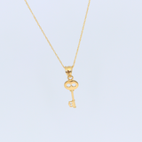 Real Gold Key Necklace 2305