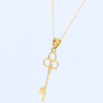 Real Gold Circle Key Necklace 2329 - 18K Gold Jewelry