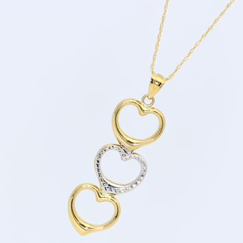 Real Gold 2C3 Heart Necklace 1841