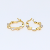 Real Gold 2C Earring Set 3077 - 18K Gold Jewelry