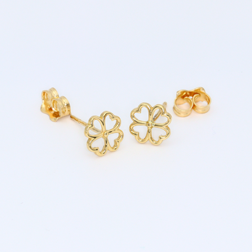 Real Gold 4 Heart Earring Set 3423