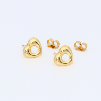 Real Gold Heart Earring Set 0802
