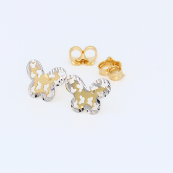 Real Gold 2C Butterfly Earring Set 0127 E1366 - 18K Gold Jewelry