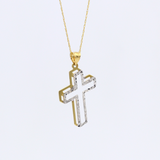 Real Gold 2C Cross Necklace 2406 CWP1531 - 18K Gold Jewelry