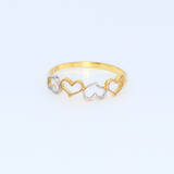 Real Gold 3C 4 Heart Ring 0981 (SIZE 7) R1318 - 18K Gold Jewelry