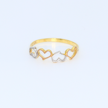 Real Gold 3C 4 Heart Ring 0981 (SIZE 5.5) R1315