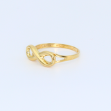 Real Gold Infinity Ring 0480 (SIZE 6) R1312 - 18K Gold Jewelry
