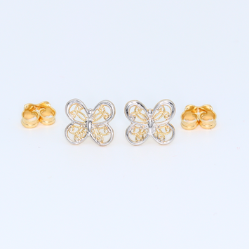 Real Gold 2C Butterfly 8050 Earring Set E1361 - 18K Gold Jewelry