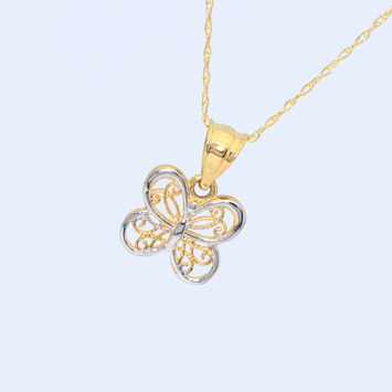 Real Gold 2C Butterfly 8050 Necklace CWP1515