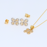 Real Gold 2C Butterfly 8050 Earring Set + Pendant + Chain