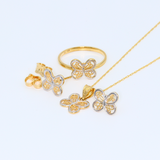Real Gold 2C Butterfly 8050 Earring Set + Chain + Pendant + Ring