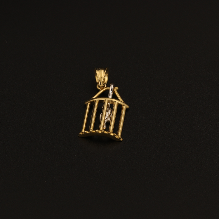 Real Gold Bird Cage Pendant - 18K Gold Jewelry