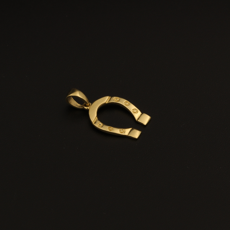 Real Gold Horseshoe Pendant 004