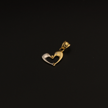 Real Gold 2 Color 1 Side Dolphin Fish Pendant 281 - 18K Gold Jewelry