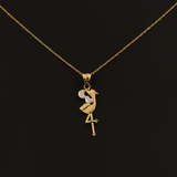 Real Gold Flamingo Necklace 0381 - 18K Gold Jewelry