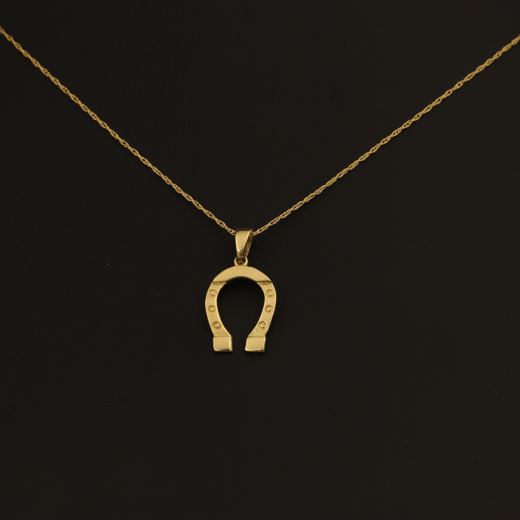Real Gold Horseshoe Necklace 004 - 18K Gold Jewelry