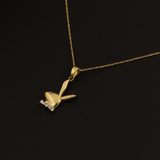 Real Gold Rabbit Necklace 002