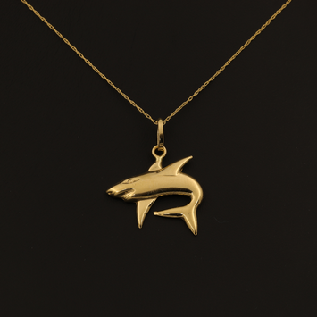 Real Gold Chain With Gold Memo Fish Pendant