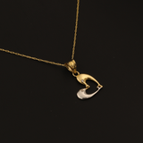 Real Gold 2 Color 1 Side Dolphin Fish Necklace 281