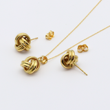 Real Gold Twisted Earring Set + Pendant + Chain 6029