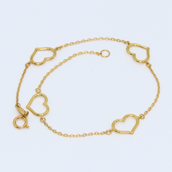 Real Gold 4 Heart Bracelet 1748 - 18K Gold Jewelry
