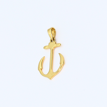 Real Gold Anchor Sharp Pendant P1571 - 18K Gold Jewelry
