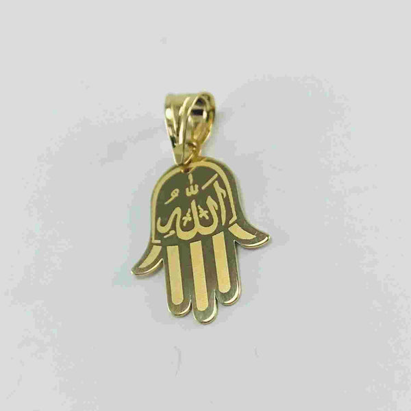 Real Gold 2 Side Allah Palm Pendant - 18k Gold Jewelry