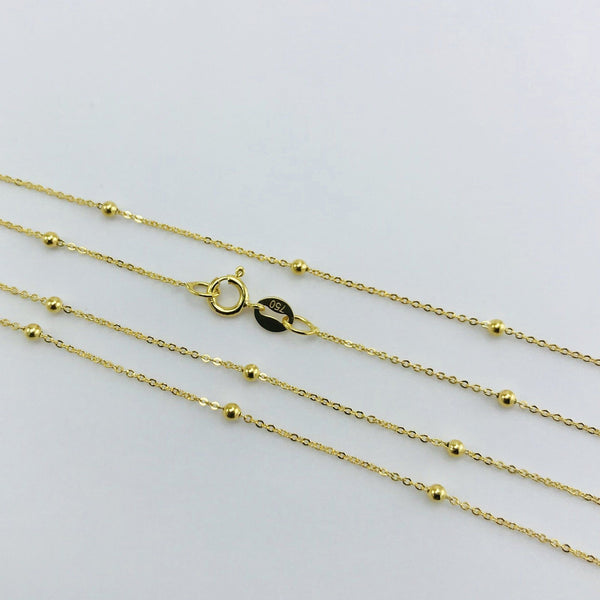 Real Gold 2 Ball in 1 Inch Chain (45 C.M) - 18k Gold Jewelry