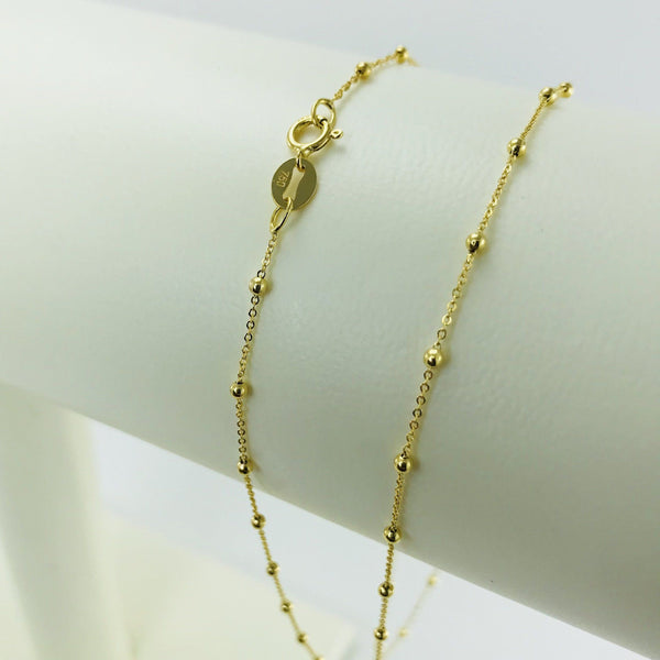 Real Gold 3 Ball in 1 Inch Chain (45 C.M)