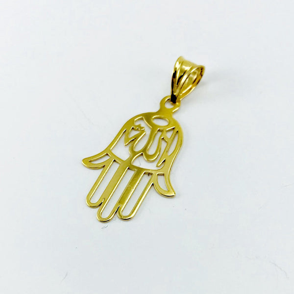 Real Gold Transparent Allah Palm Pendant - 18k Gold Jewelry