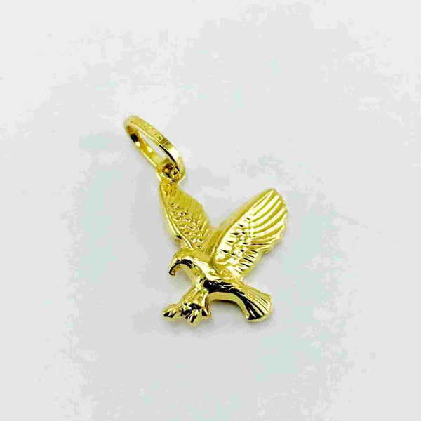 Real Gold 3D 2Side Falcon Pendant - 18k Gold Jewelry