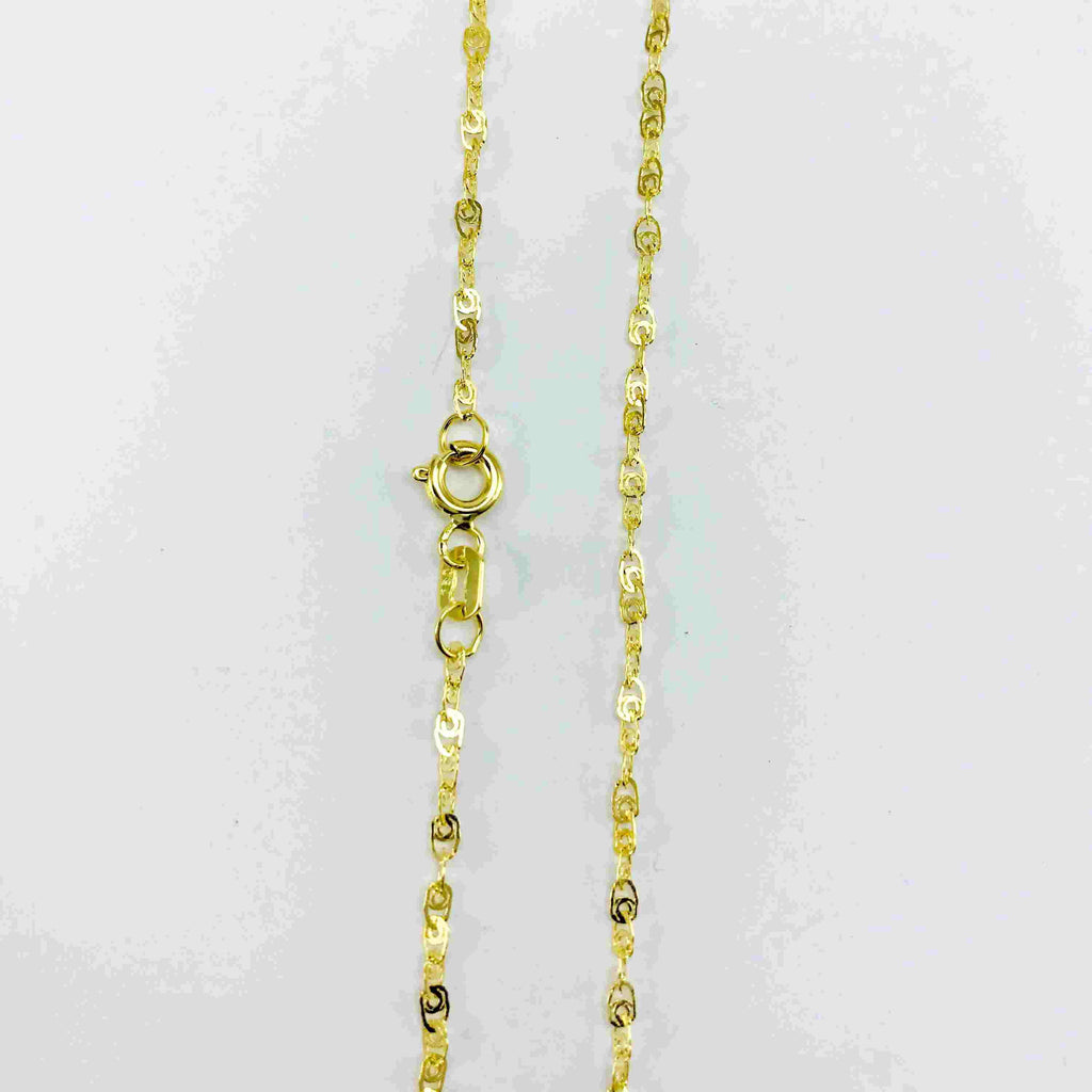 Real Gold Glittering T Chain (40 C.M) - 18k Gold Jewelry