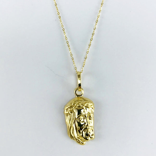 Real Gold Chain With Gold Jesus Face Pendant