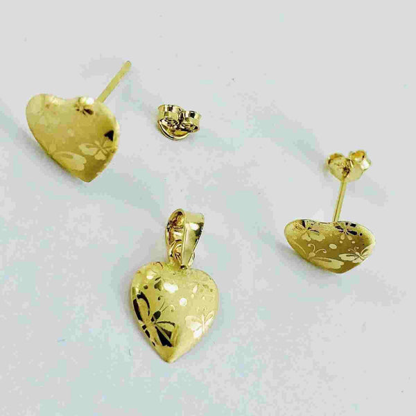 Real Gold 1C Butterfly Earring Set With Pendant - 18k Gold Jewelry