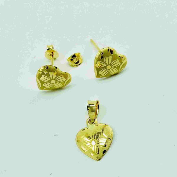 Real Gold 1C Lotus Earring Set With Pendant - 18k Gold Jewelry