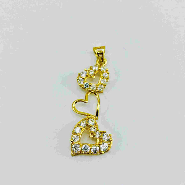 Real Gold 3 Heart Stone Pendant - 18k Gold Jewelry