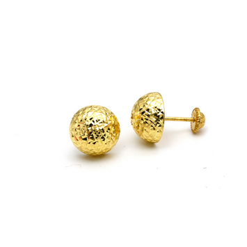 Real Gold Round Glittering Ball 10 MM Screw Earring Set E1598